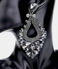 LARGE CRYSTAL STATEMENT PAGEANT EARRINGS