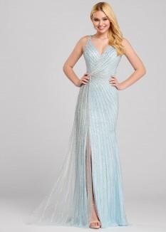 Ellie Wilde Sleeveless Blue Gown EW120076