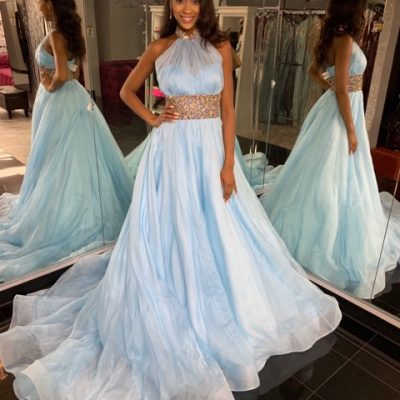 Blue Jovani Couture Ballgown