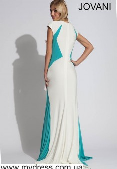 White and Turquoise Jersey Jovani Gown