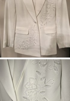 White custom interview suit