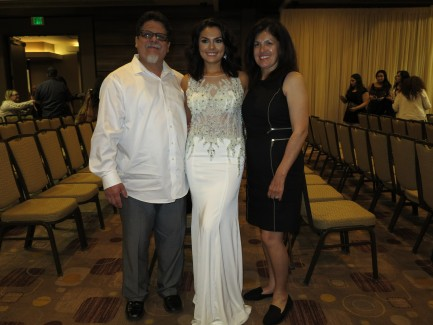 White custom made gown with pearls and beads
