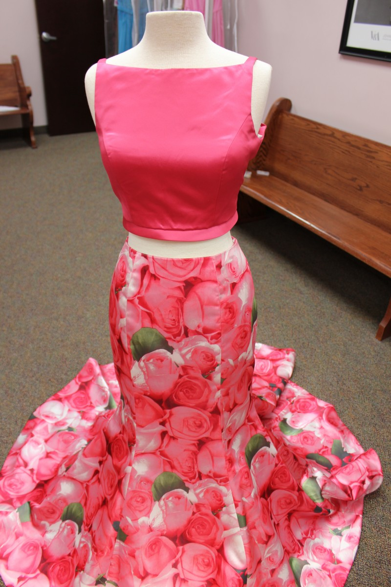 Pink floral two piece Sherri Hill dress