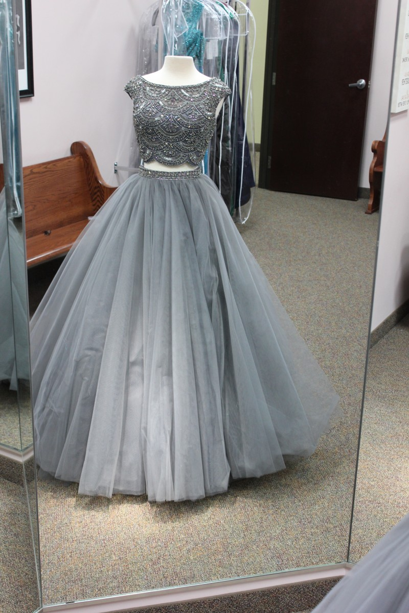 Gray two piece Sherri Hill ball gown