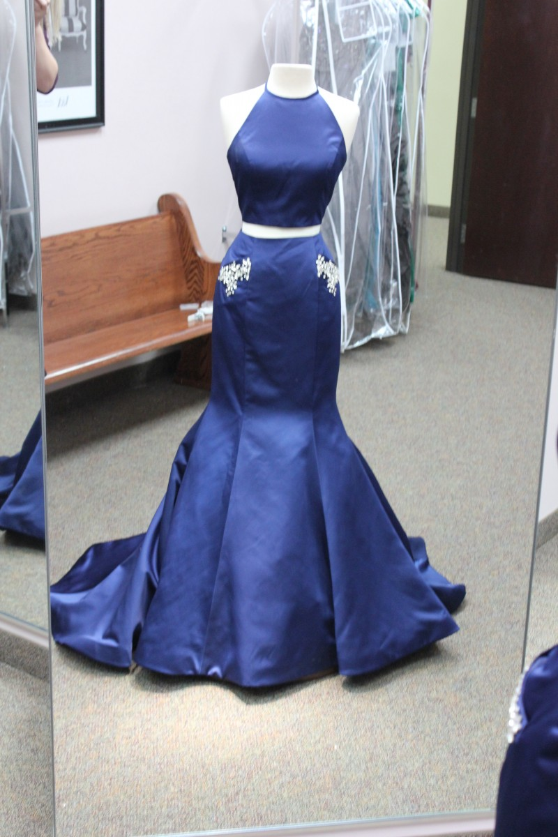 Navy Blue two piece Mermaid dress from Sherri Hill