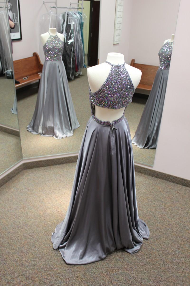 Long grey dress from Sherri Hill