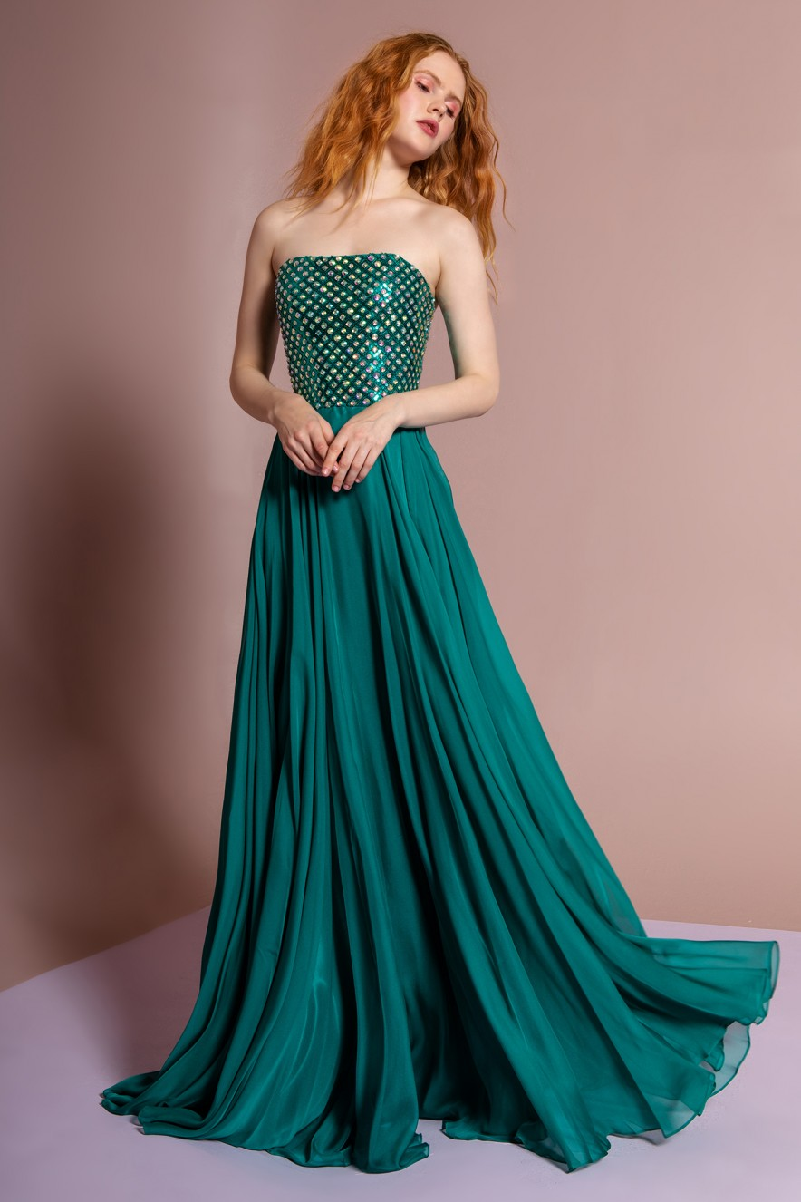 Green Strapless Gown by gls collective