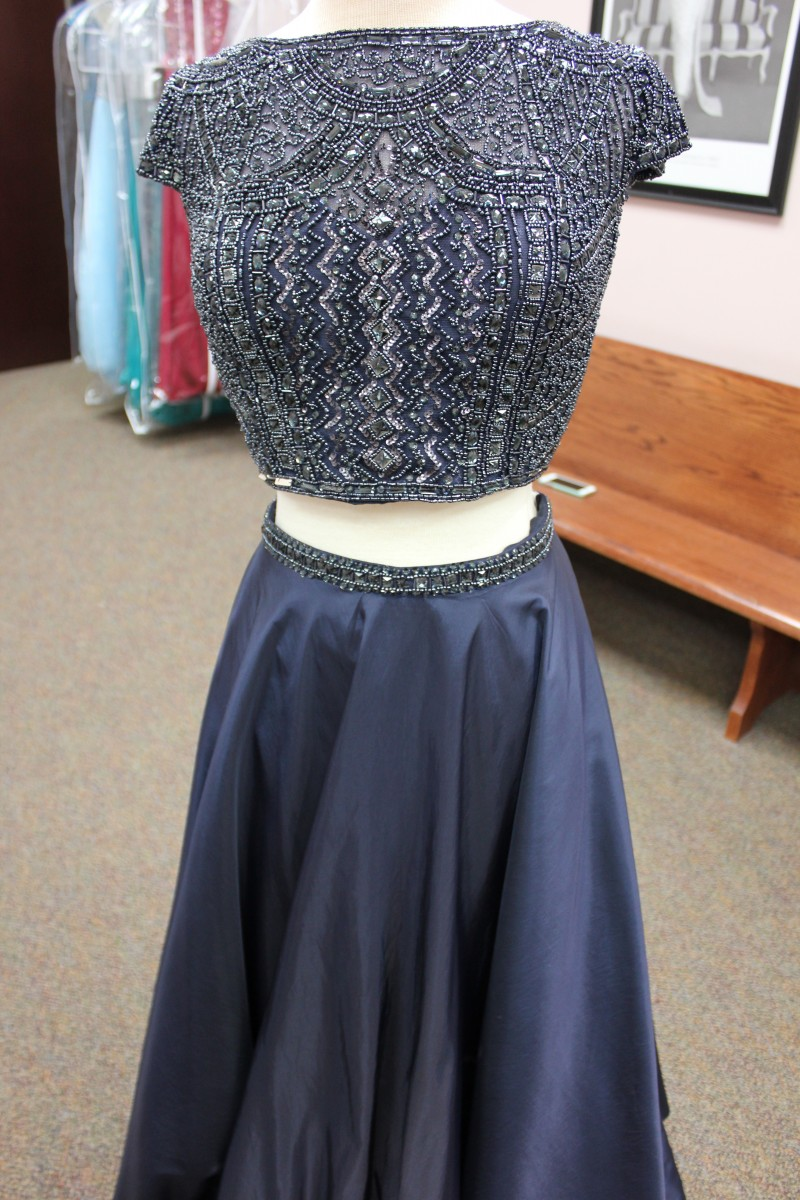 Navy Blue two piece long dress from Sherri Hill