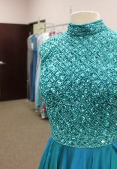 Teal long dress from Sherri Hill