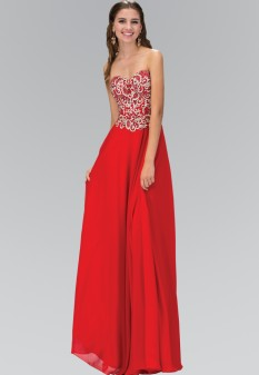 Red Sweetheart Chiffon Embroidered Detailing by gls collective