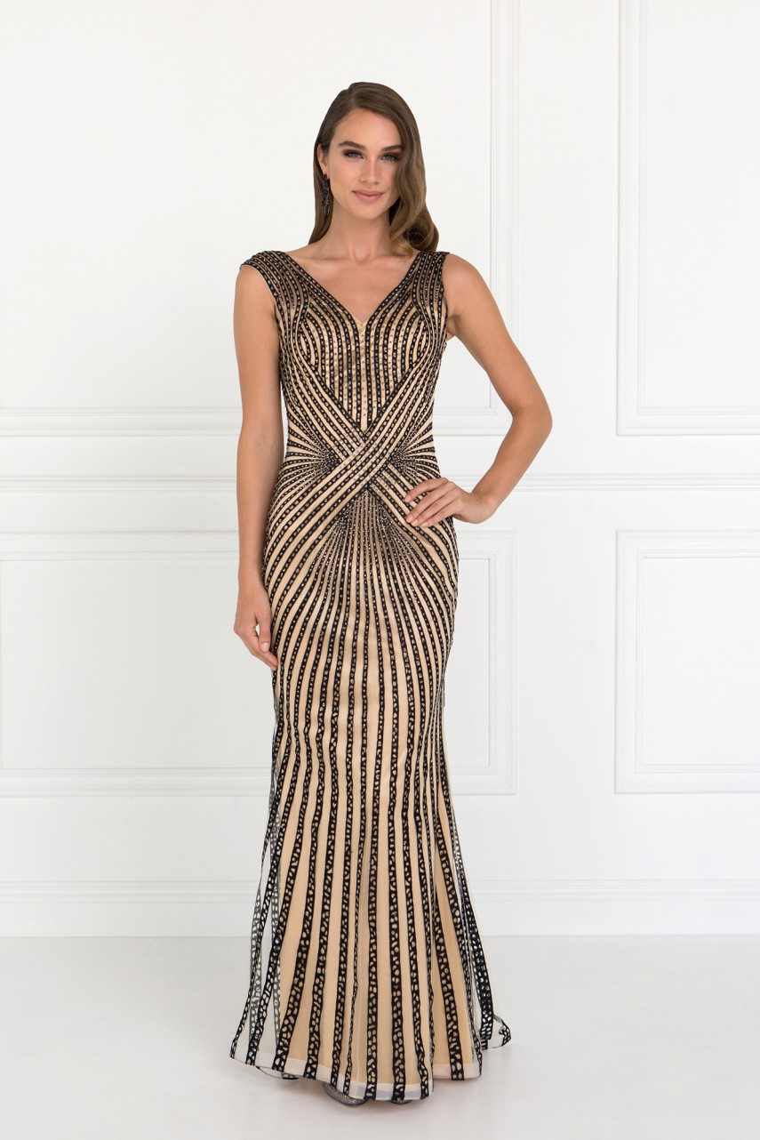 Black and Nude V-Neck with Rhinestone Stripes by gls collective