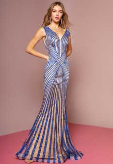 Royal and Nude V-Neck with Rhinestone Stripes by gls collective