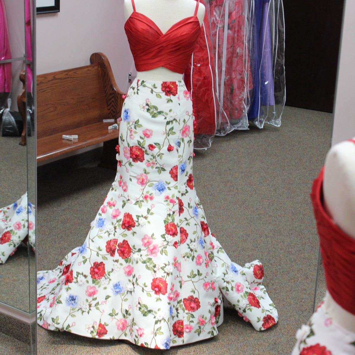 Two piece read and flower mermaid dress from Sherri Hill