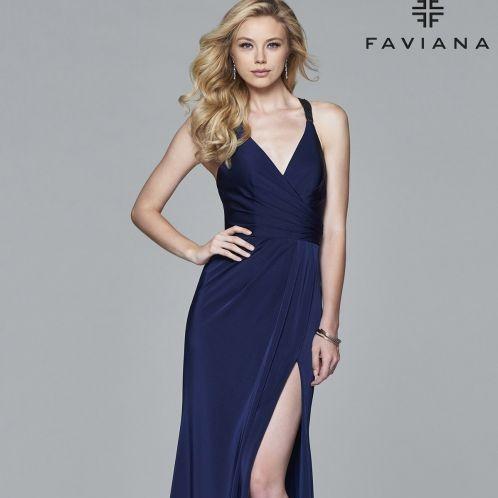 Navy dress from Faviana