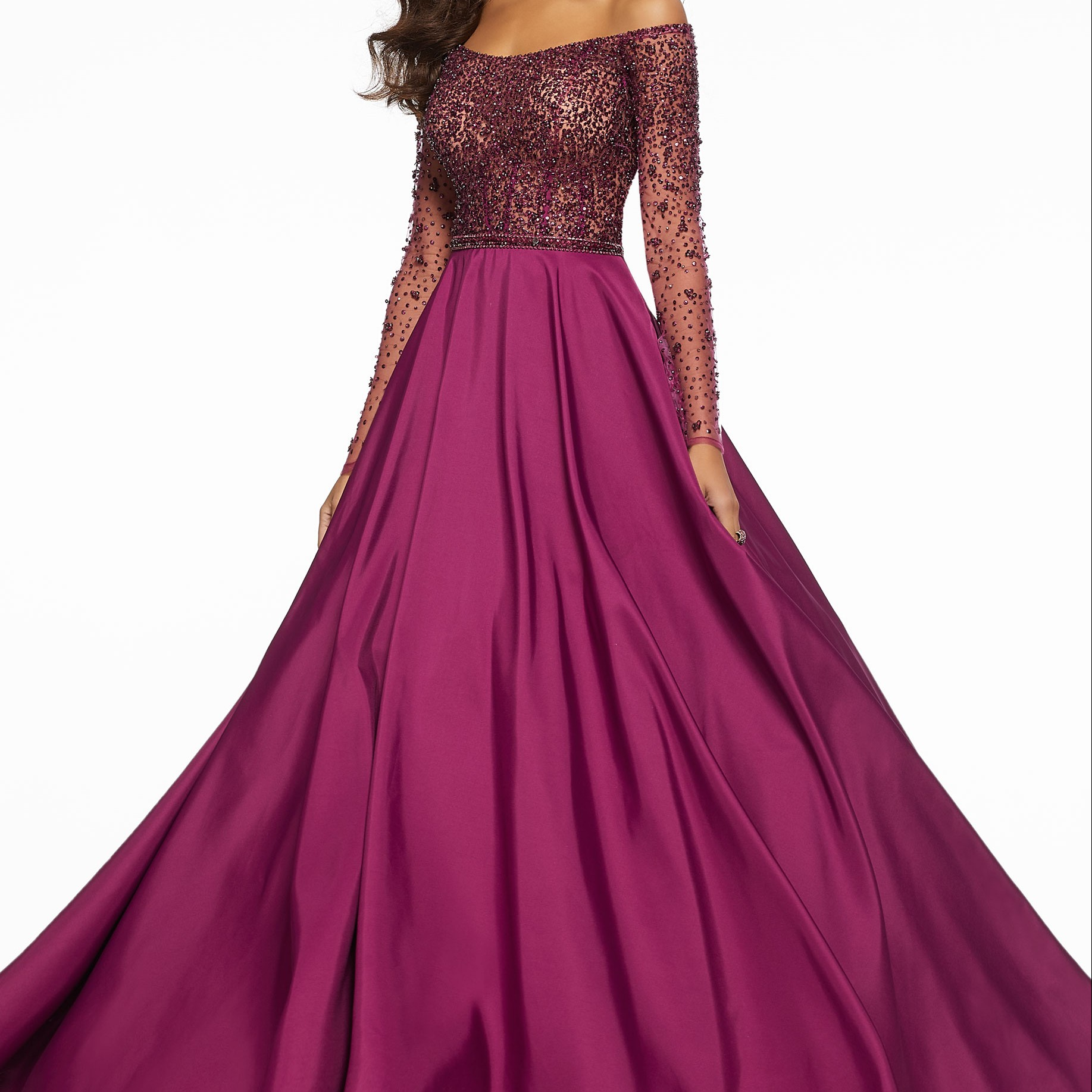 Wine Ball Gown by MoriLee