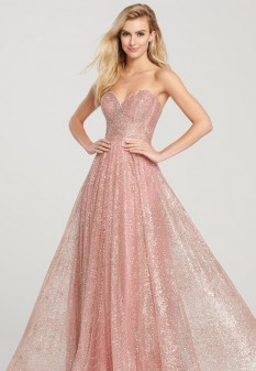 Strapless sparkle dress with overskirt by Ellie Wilde