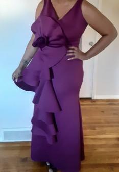 Plus Size Fashion Nova Eggplant Colored Mermaid Ruffled Gown