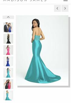 SZ 2 Madison James Teal Mermaid Gown