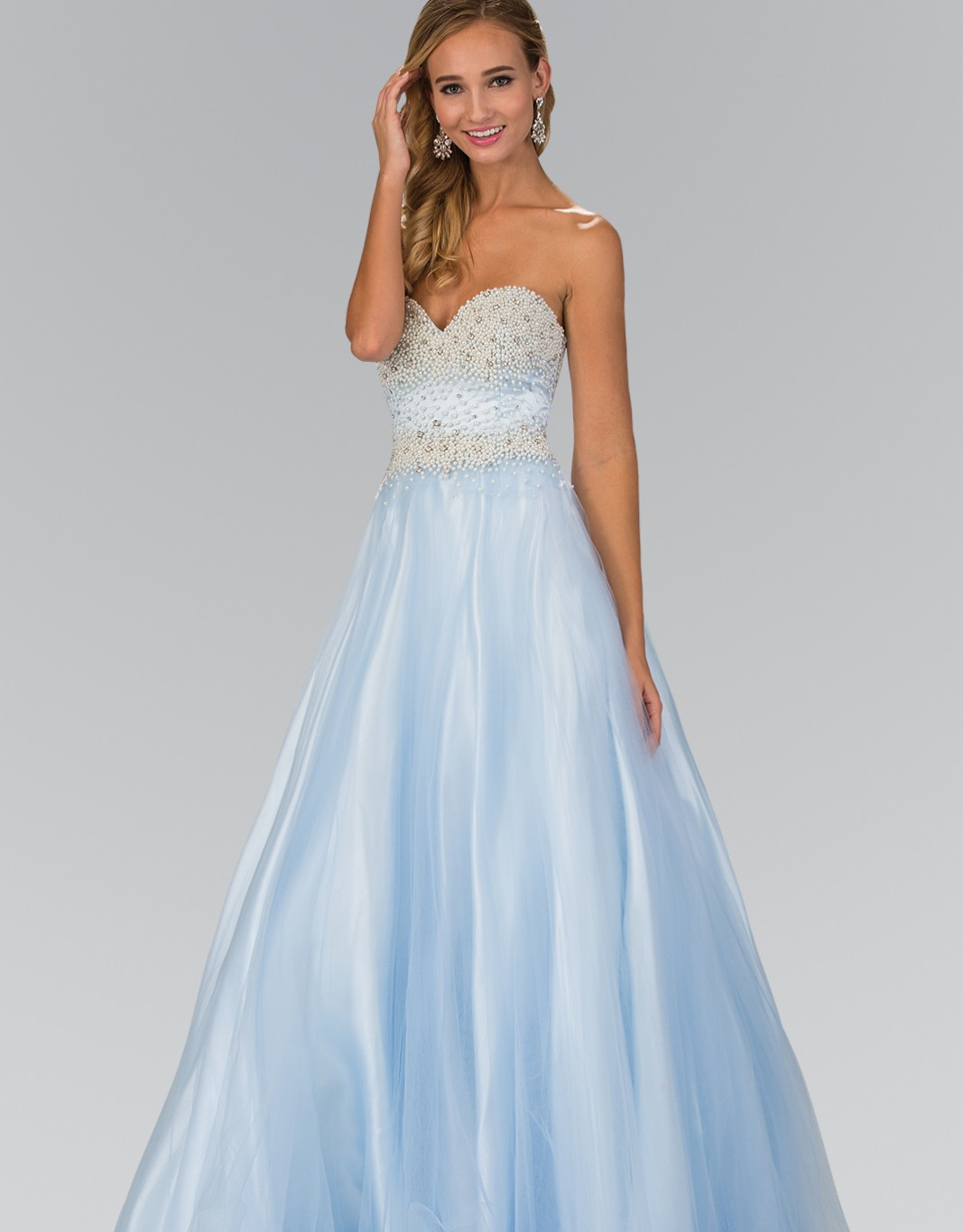 Strapless Sweetheart A-Line Tulle Long Dress with Bead and Pearl Embellished Bodice