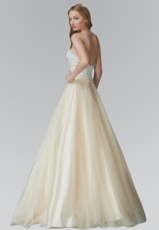 Strapless Sweetheart A-Line Tulle Long Dress with Bead and Pearl Embellished Bodice in Champagne
