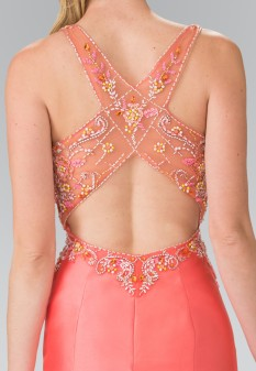 Ruffle-Back Sweetheart Mikado Dress Accented with Beading Details in Coral