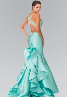 Ruffle-Back Sweetheart Mikado Dress Accented with Beading Details in Tiffany