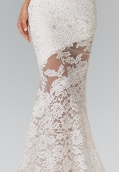 Illusion Cut-Out Lace Long Dress in Ivory