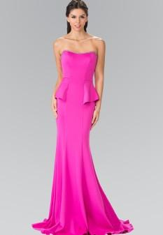 Strapless Mermaid Long Dress in Fuscia