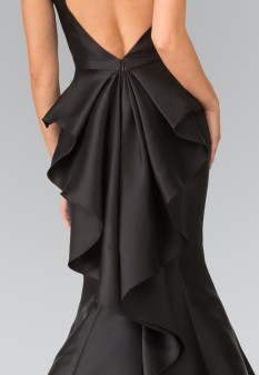 High Neck Jeweled Collar Mermaid Dress with Open Back and Ruffles in Black