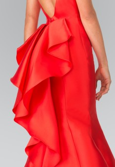 High Neck Jeweled Collar Mermaid Dress with Open Back and Ruffles in Red