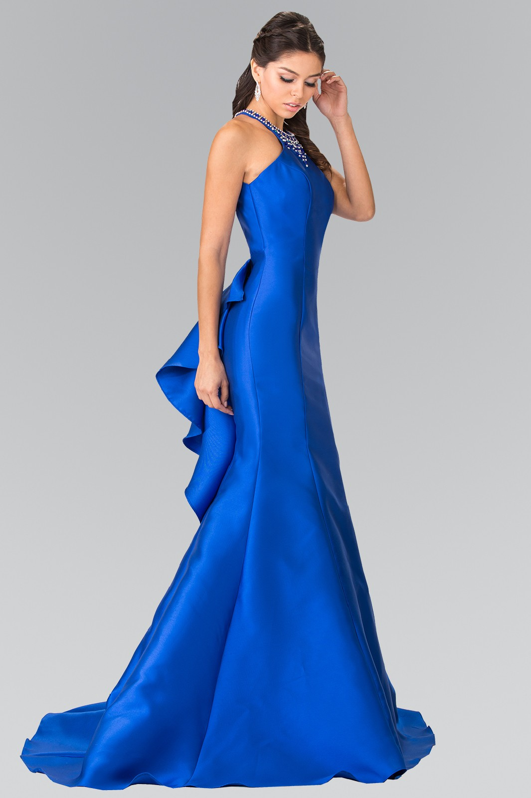 High Neck Jeweled Collar Mermaid Dress with Open Back and Ruffles in Royal Blue