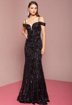 Tulle Sequin Mermaid Long Dress in Black