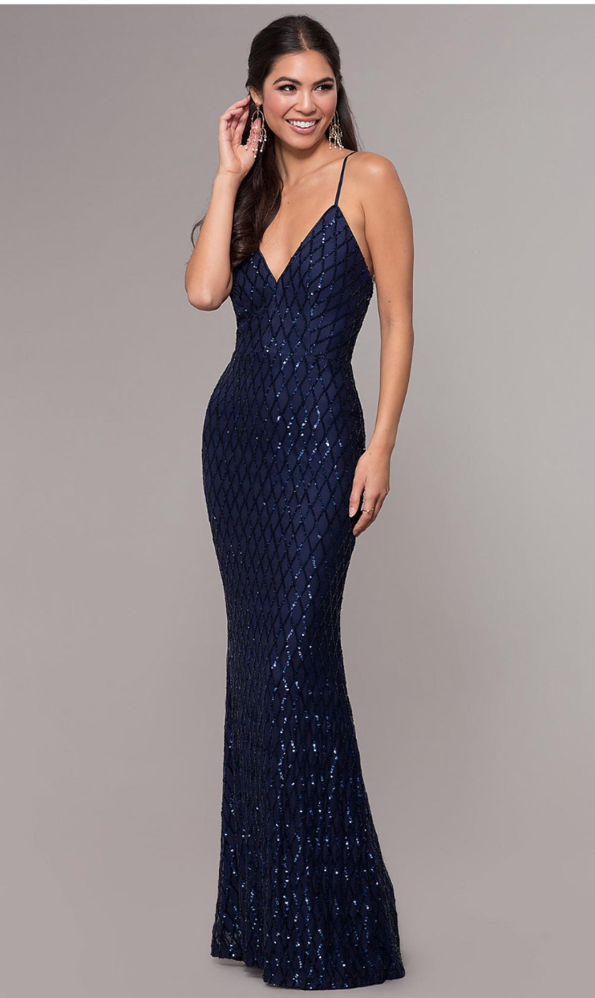Navy Blue Prom Girl Dress