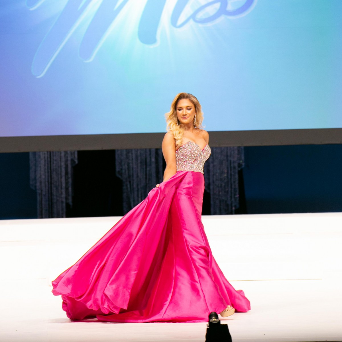 Fuchsia MacDuggal pageant line Dress with overskirt