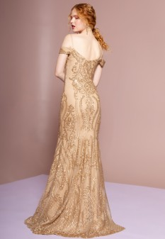 Tulle Sequin Mermaid Long Dress in Gold