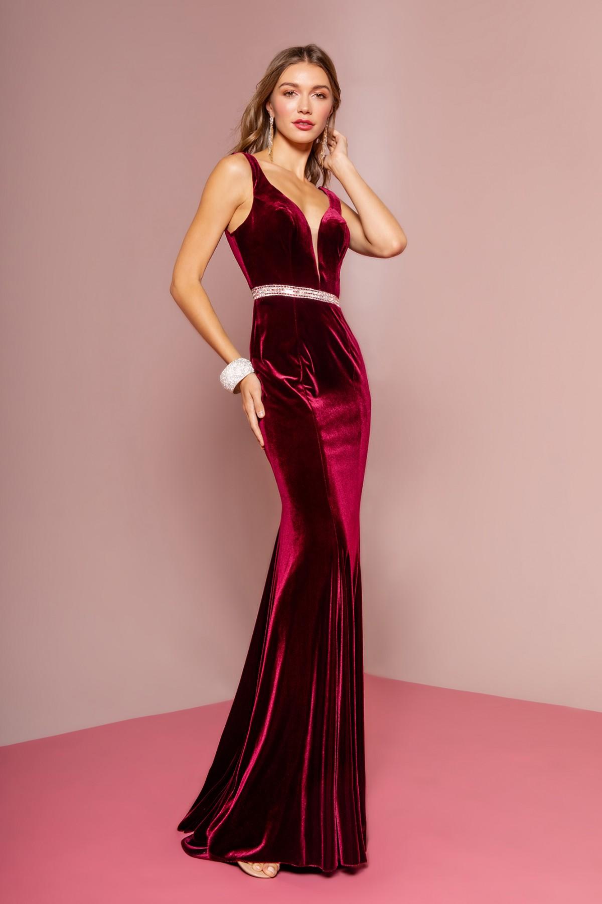 Jewel Accented Waist Line V-Neck Velvet Dress w/ U-Back in Burgundy