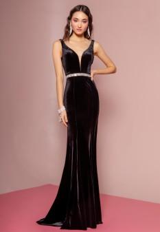 Jewel Accented Waist Line V-Neck Velvet Dress w/ U-Back in Black