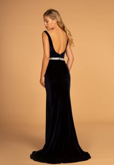 Jewel Accented Waist Line V-Neck Velvet Dress w/ U-Back in Navy