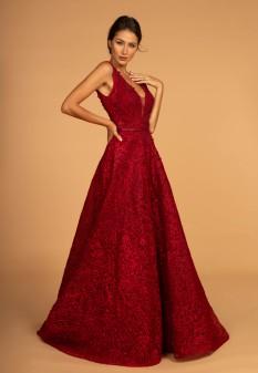3D Floral Applique Embellished Lace A-Line Dress w/ Deep Illusion V-Neck in Burgundy