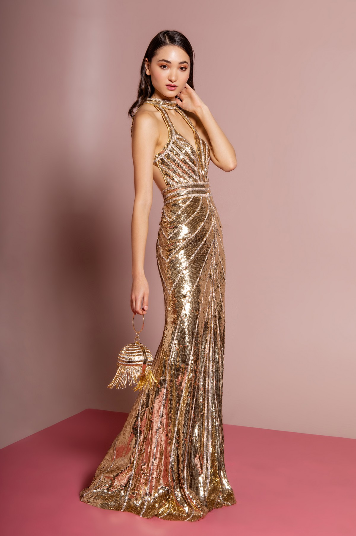 Jewel Embellished Sequin Mermaid Long Dress w/ Strap Back in Gold