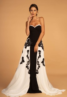 Black and White Sheath Dress with Partial Overskirt