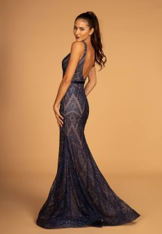 Navy Blue Glitter Gown with Geometric Shapes
