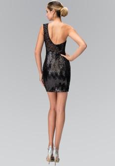 One Shoulder Sequin Bodycon Short Dress