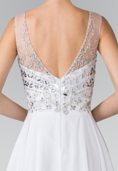 Short V-Neck Homecoming Dress with Jeweled Bodice