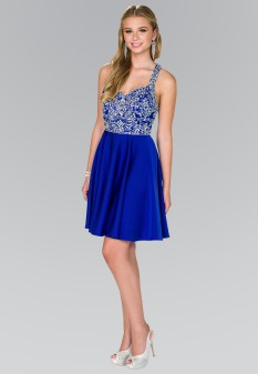 Beads Embellished Bodice Chiffon Short Dress