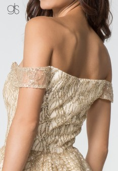 Beads Accented Sweetheart Neck Glitter Mesh Short Dress