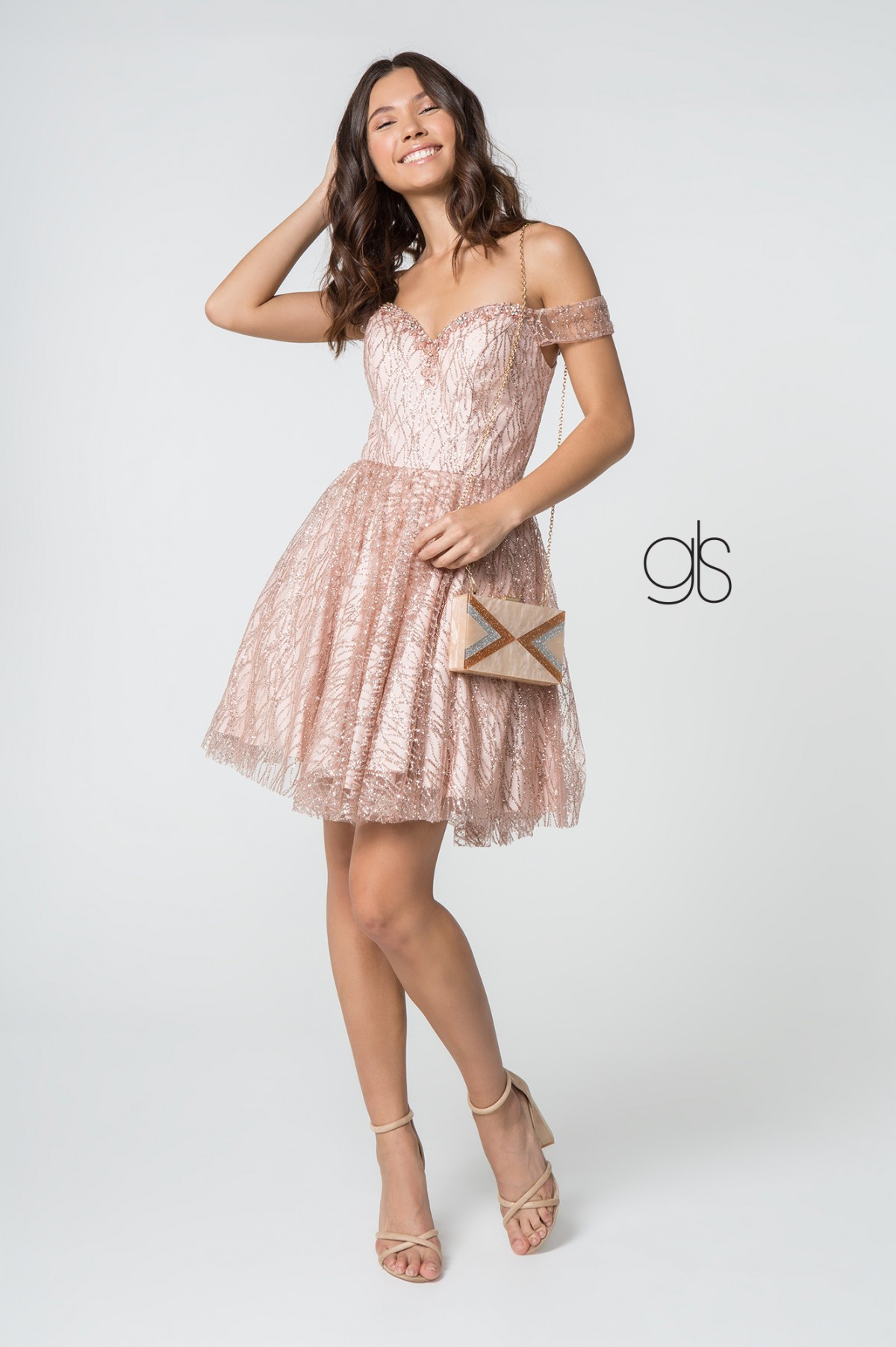 Beads Accented Sweetheart Neck Glitter Mesh Short Dress in Rose Gold