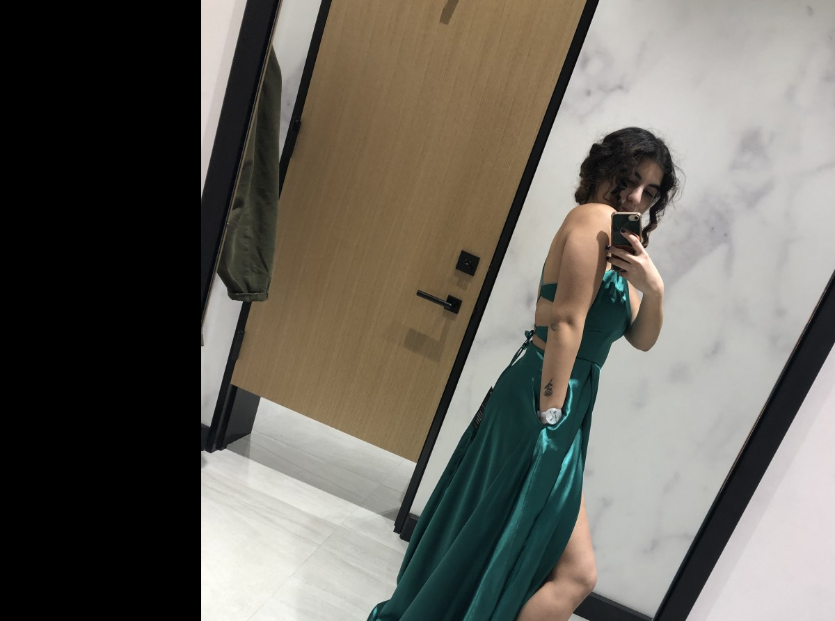 Emerald green dress by Melanie Lyne