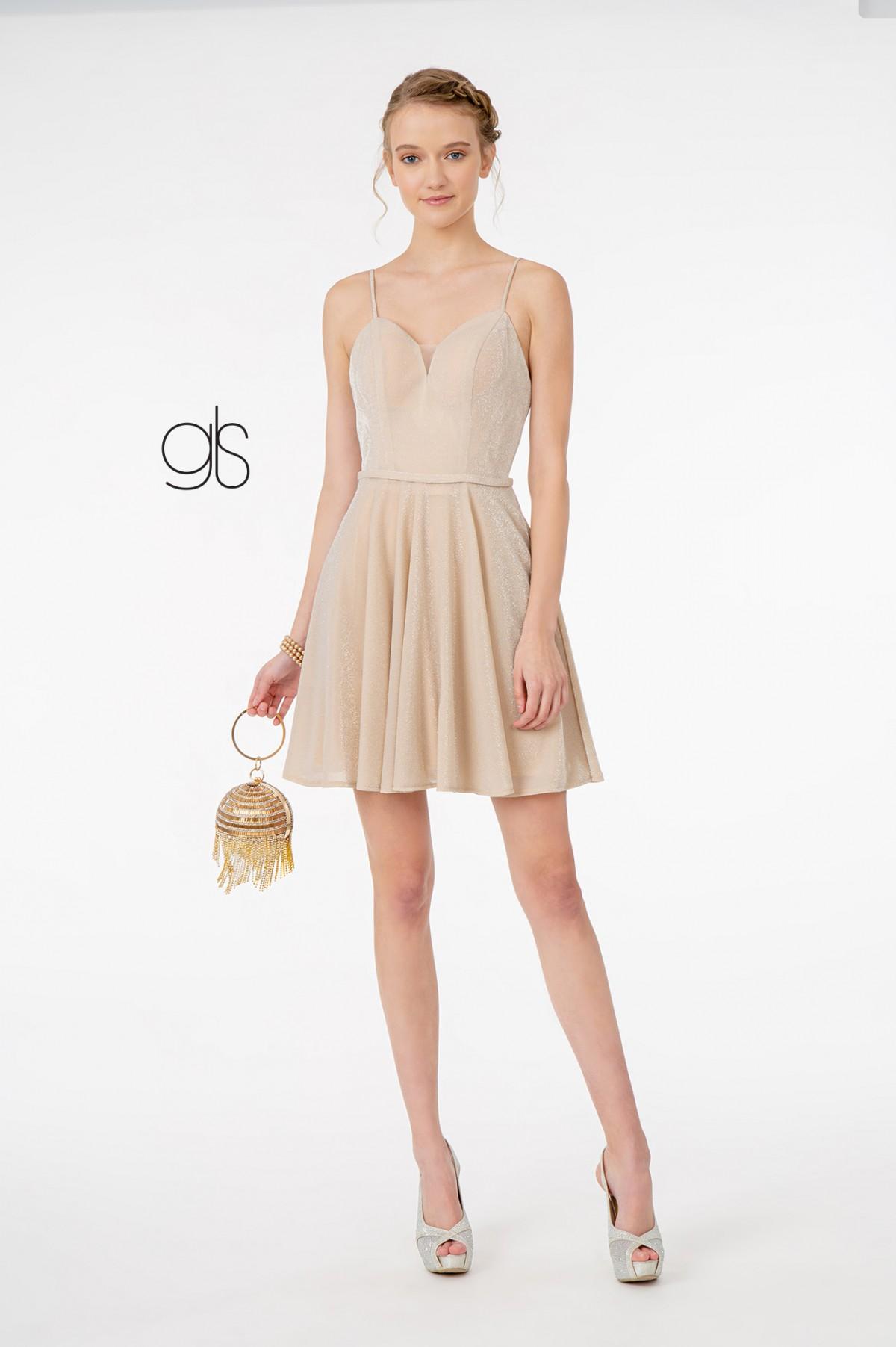 Sweetheart Neckline A-Line Short Dress w/ Pocket in Champagne