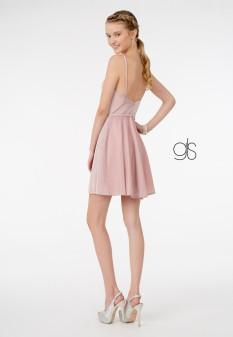 Sweetheart Neckline A-Line Short Dress w/ Pocket in Rose Gold